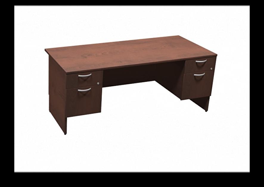 Bureau double caisson marron mobilier de bureau liquidations mobiliers h moquin - Liquidation mobilier de bureau ...